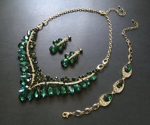 bridal, pendant necklace, and emerald green image
