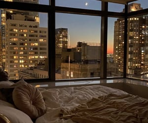 city, view, and bedroom image