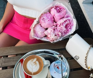 casual, coffee, and peonies image