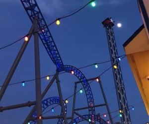 amusement park, blue, and fun image