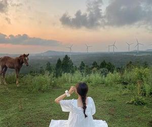 animal, girl, and green image