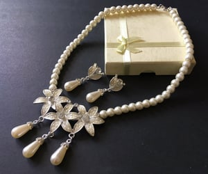 crystals, flower necklace, and vintage wedding image
