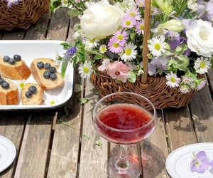 drinks, flowers, and food image