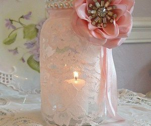 candle, flowers, and lace image