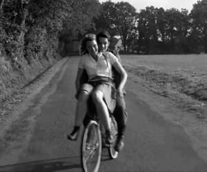 bicycle, black and white, and happy image