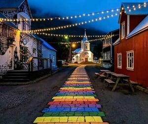 beauty, city, and rainbow image