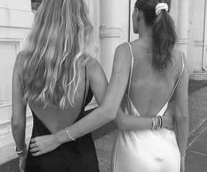 besties, black and white, and clothes image