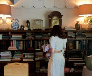 books, interior, and outfit image