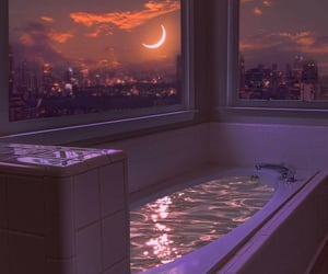 aesthetic, bathroom, and moon image