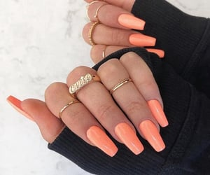 beauty, peach, and nailsart image