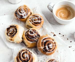 cake, cinnamon rolls, and desserts image