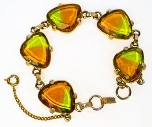 Vintage JUDY LEE Link Bracelet Faceted Bi-Color Cuba Glass Stone Amber Green