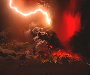 red, volcano, and fire image
