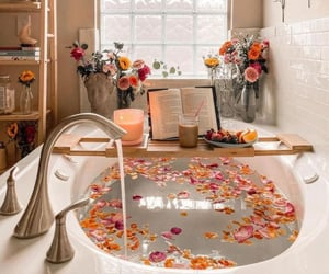 bathroom, flowers, and bath image