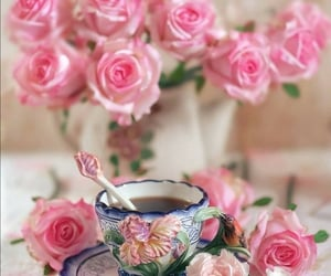 coffee, flowers, and cup of coffee image
