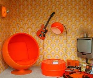 orange, 70s, and guitar image