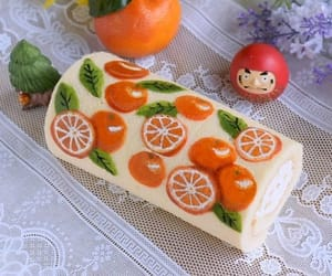 clementine, decoration, and swiss cake image