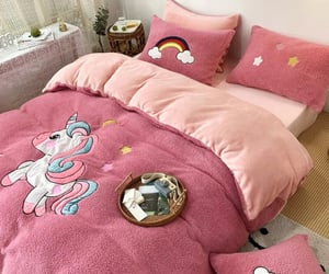 bed, bedroom, and blanket image