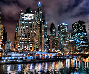 chicago, city, and night image