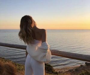 fashion, sea, and sunset image