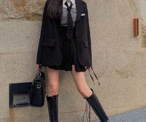 black boots, black jacket, and black skirt image