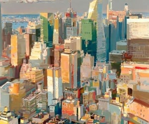 art, cityscape, and paintings image