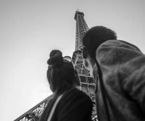 couple, paris, and eiffel tower image