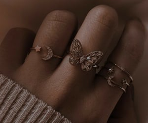 rings, butterfly, and girl image