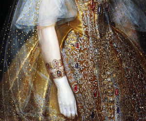 gold, dress, and painting image