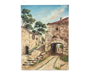 etsy, french landscape, and village painting image