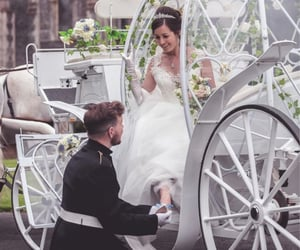 bride, cute, and cart image