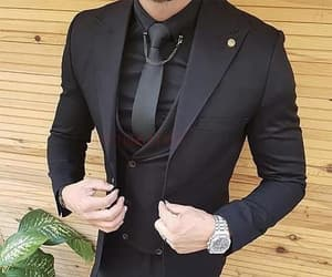 accessories, black suit, and elegance image