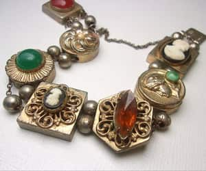 charm bracelet, etsy, and green red image