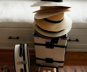 hats, luggage, and straw hats image