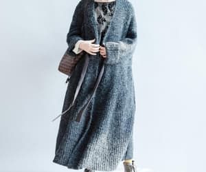 women long coat, plus size clothes, and dark gray sweater coat image