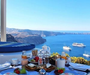 sea, travel, and santorini image