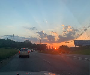 aesthetic, driving, and orange sky image
