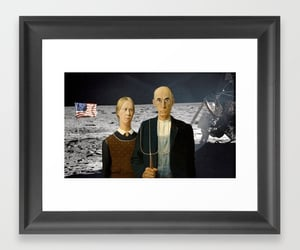 art, moon landing, and american gothic image