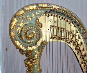 harp, instruments, and ángel image