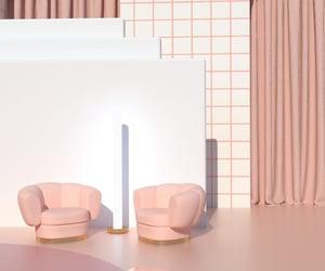 armchair, pink, and sofa image