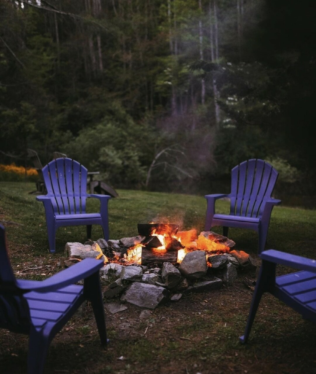 cabin, sit, and firepit image