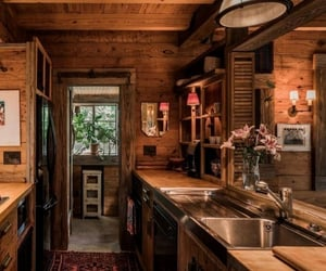 cabin, home, and kitchen image