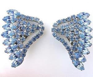 etsy, vintage earrings, and blue rhinestones image