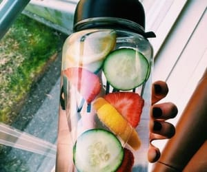 drink, water, and fruit image