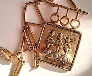 etsy, bar link chain, and gold tone gold plate image
