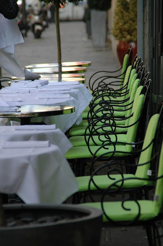 green, bistro, and chairs image