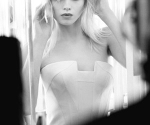 model, Abbey Lee Kershaw, and black and white image