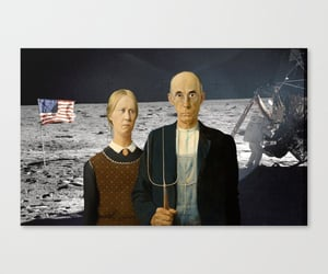 american gothic, art, and moon landing image