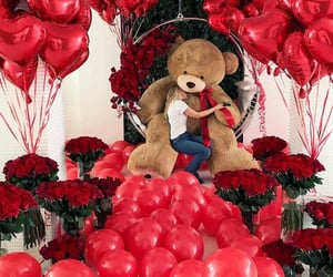 balloons, flowers, and valentinesday image