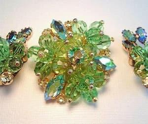 Austrian Crystal Brooch Earring Set Peridot Green AB image 0